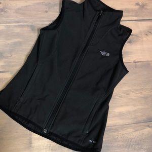 The north face black fleece zip up vest